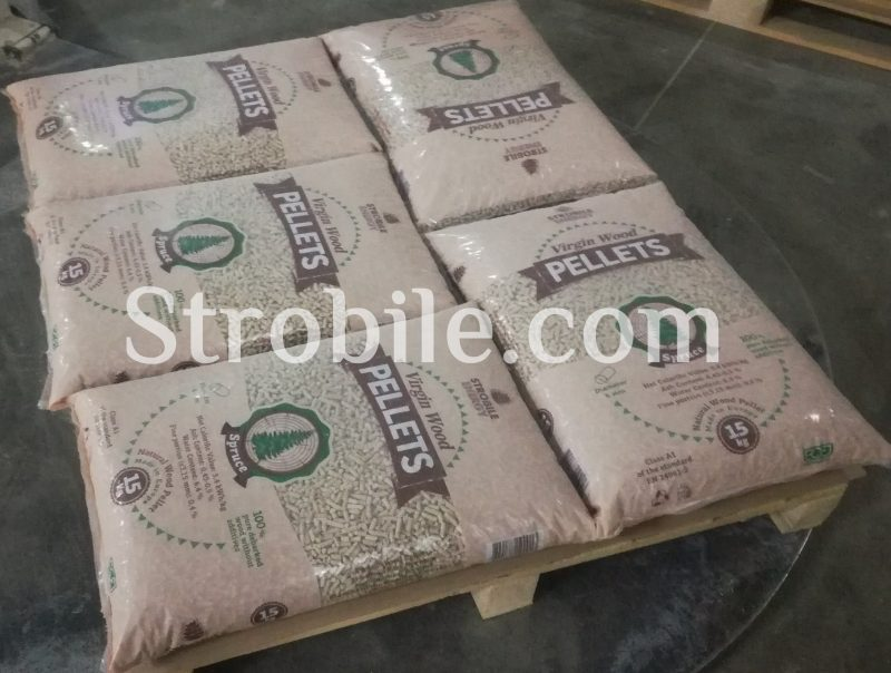 Virgin Wood Pellets Silver Fir on the pallet